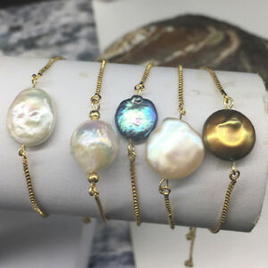 24K Yellow Gold Filled Pearl Adjustable Box Chain Bracelet will not turn black