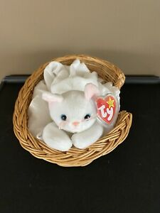 RARE Flip the White Cat Beanie Baby With Tag Protector Retired 1995 Errors