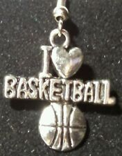 FOR BASKETBALL LOVERS - I LOVE BASKETBALL silver earrings by Sandy of Scottsdale
