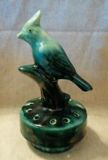 Vintage Green Bird Flower Frog Glazed Pottery 1940s?