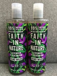 2x Faith In Nature Lavender & Geranium Hand Wash VEGAN NATURAL ORIGIN 400ml