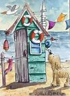 ACEO Contemporary Original Watercolour Painting Beach Hut~Dog~Ladybug~Snail