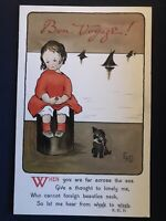 Girl on Dock with Dog~Bon Voyage~Arts & Crafts Antique A/s  Postcard-a457