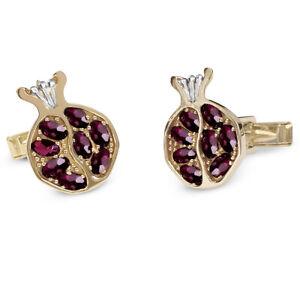 14K Gold Men's Jewelry Shirt Judaica Pomegranate Cufflinks Red Garnet Gemstones