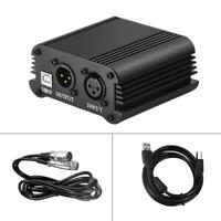 DC 48V Phantom Power Supply USB Power Adapter for Condenser Microphone w/ Cable