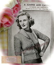 Vintage 30s Knitting Patten Lady's Cardigan & Jumper Twinset In Ribbing & Cable