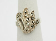 Sterling Silver .925 Sparkling Marcasite Flame Design Fashion Ring Sz 5  J467