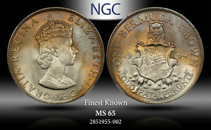 1964 BERMUDA CROWN NGC MS 65 SILVER FINEST KNOWN #C