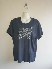MENS HOLLISTER SIZE XL BLUE WHITE LOGO T-SHIRT GOOD CONDITION