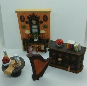 5 PIECE DOLL HOUSE MINIATURE ROOM SETTING & GRANDFATHER CLOCK POLYSTONE RESIN