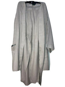 club room mens Woven pajamas Pants and Bath Robe Beige Blue White M EUC