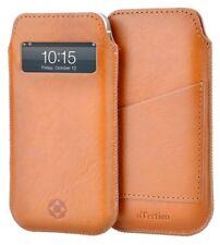 iPhone SE 5S 5 Echt Leder Hülle Case Cover Tasche hell Braun m. Uhrzeit Fenster