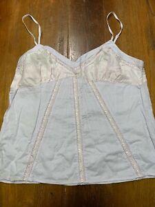 Women's American Eagle Lavender Cotton/Satin Cami Tank Top Sz 12 Vintage Boho