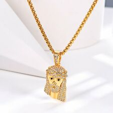 14k White Gold 2 Row CZ Pave ROSARY Jesus Cross Charm Necklace Chain Hip Hop