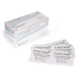 Fast Aid Pre-Injection Swabs 70% IPA Alcohol Wipes Piercing Tattoo Medical