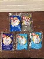 Vintage 1998-1999 Ty Teenie Beanie Babies McDonalds Happy Meal~Lot of 5~Dog/Cat