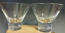 Set of 2 Grand Marnier Martini Etched Logo Clear Glasses