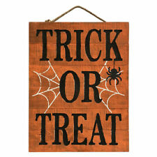 HALLOWEEN WALL DOOR ART DECOR WOOD PLAQUE ROPE HANGER BRAND NEW WITH TAG