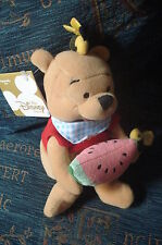 "WINNIE THE POOH DISNEY STORE UK SUMMER FUN MELON & BEE 8"" TOY BEANIE Gift New"