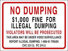 NO DUMPING $1,000 FINE sign CVC 23112;  PC 374.3