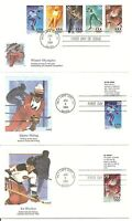 US SC # 2807-2811 and 2811a Winter Olympics FDC. Set Of 6. Fleetwood Cachet