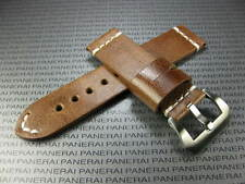 BIG BELT 24mm Hand Made LEATHER STRAP D Brown Band with White Stitch PAM 1950