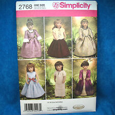 Simplicity 2768 18in Doll Formal Dress Pattern 6 Looks SEWING PATTERN new uncut