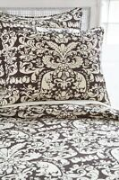 Chocolate Brown & Ivory Queen Duvet Cover + Shams Pine Cone Hill Gianna Damask