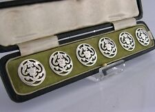 CASED SIX SOLID SILVER BUTTONS ART NOUVEAU 1903 EDWARDIAN ENGLISH ANTIQUES