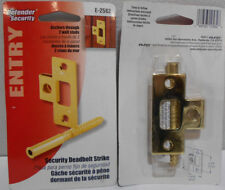 Lot of 2 New PrimeLine E-2582 Security Deadbolt Lock Strike Plates, Entry, Brass