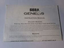 Sega Genesis Console Instruction Manual Only