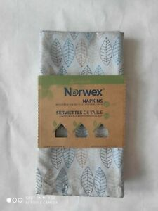4 NORWEX NAPKINS Leaf Pattern - Made From 50% Recycled Materials