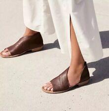 NIB FREE PEOPLE $168 Mont Blanc Cocoa Brown Leather asymmetrical sandal Sz 36 6