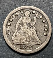 1842 Seated Liberty Silver Half Dime 5c Semi Key Date 815k Minted Nice Coin