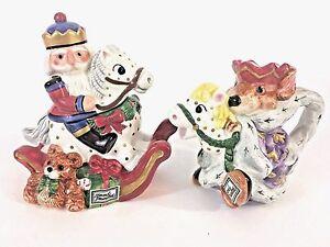 Fitz Floyd Vtg Nutcracker Sweets Toy Soldier Sugar Bowl, Lid & Creamer Rat King