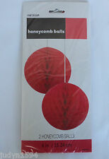 PACK OF 2 RED HONEYCOMB TISSUE BALLS HANGING PARTY DECORATIONS POM POMS