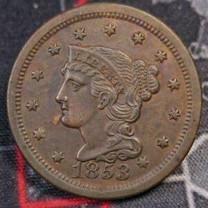 1853 Braided Hair Large Cent AU