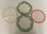 vintage doiliel lot crochet edge lace scalloped dresser scarf shabby chic decor