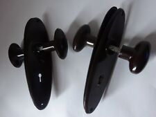 One Vintage Art Decor Bakelite Door Knobs Handles With Oval Back Plates