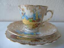 Rare Vintage Colclough 6177 Yellow Crinoline Lady in Cottage Garden Chintz Trio