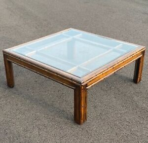 vintage Faux Bamboo Wood Square Coffee Table with Inset Beveled Glass