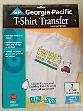 "New - Georgia Pacific T-Shirt Iron-on Transfer Sheets - 8.5"" x 11"" - 7 Sheets"