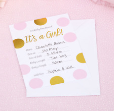 BABY GIRL ANNOUNCEMENT CARDS X 10 WITH ENVELOPES
