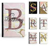 Personalised Initials Name Marble Passport Cover Holder PU Leather Luggage Tag