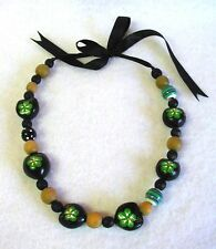 Hand Decorated Kukui Nut Lei Choker Necklace with Wood Beads Green Hibiscus