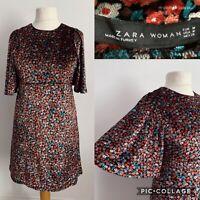 Zara Woman Floral Velvet Dress Size M Party Evening Bell Sleeve