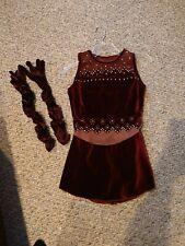 Figure Skating Dress - Burgundy Dress with matching gloves, Adult small/medium