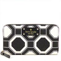 NWT Kate Spade Neda Wellesley Fabric Zip Around Wallet in Black/Cream #1397