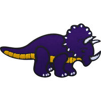 Iron On Patch / Sew On Badge Embroidered Triceratops Dinosaur for Shirt Bag Jean