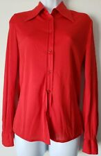 True Vintage iMagnin Blouse 100% Nylon Red Long Sleeve Button Up 10